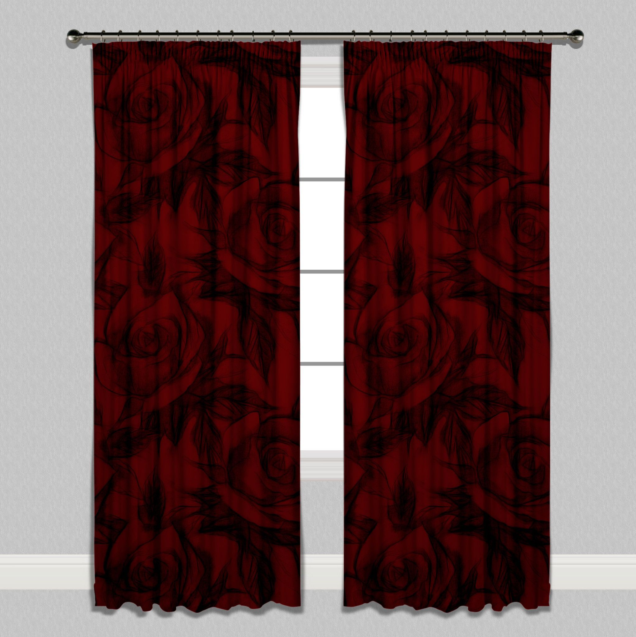 Red And Grey Curtains Bedroom Dark Argos Valance Lofty Idea ...
