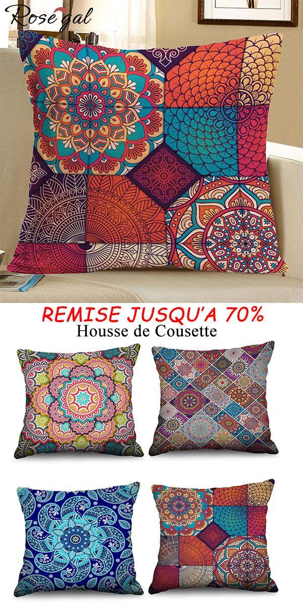Housse de couette coussin style boh mien pour la - Housse coussin 60x60 pour canape ...