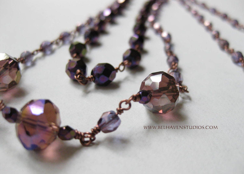 2 strand wire wrapped raspberry purple crystals Purple iris Czech ...