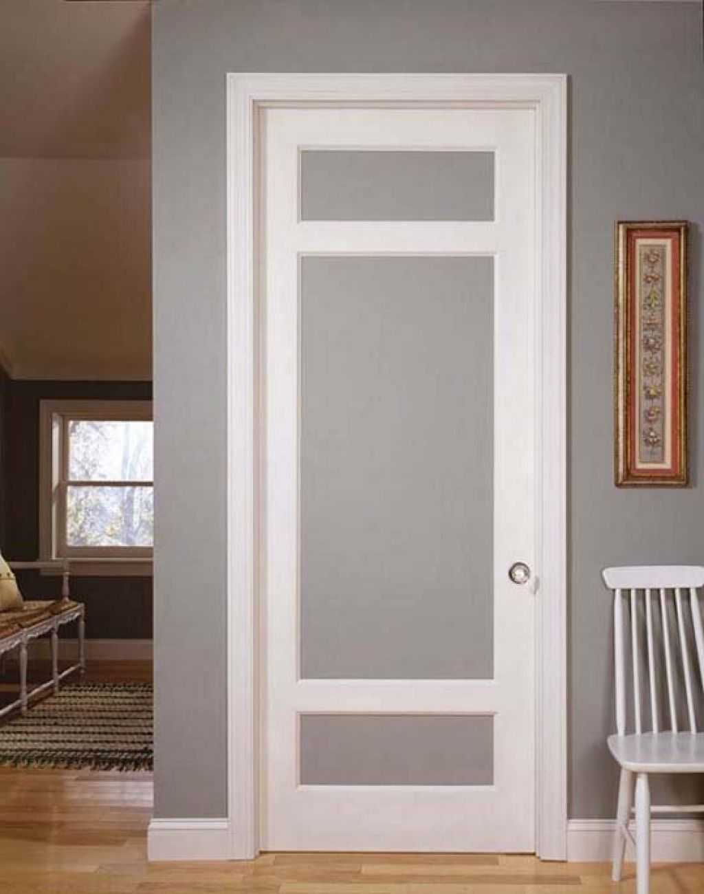 interior glass doors. Simple Vintage Styled Interior Doors With Frosted Glass And Using Molding In The Edge Frame Also Round Steel Door Knob For Final Touch