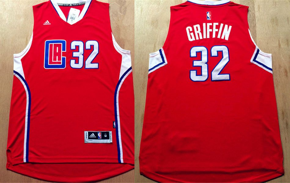 Los Angeles Clippers #32 Griffin Red Men 2017 New Logo NBA Adidas Jersey