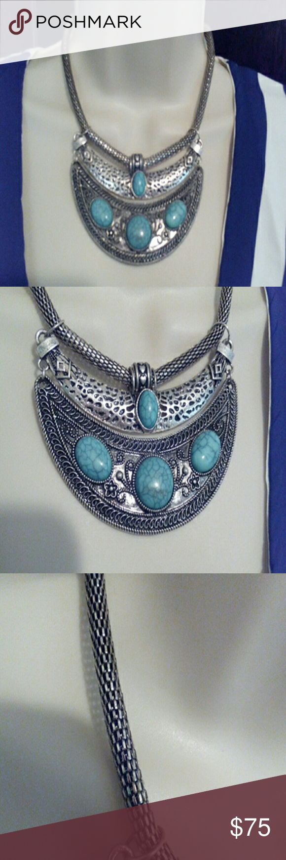 Turquoise Necklace From Nevada. Silver sculture This turquoise necklace has a neat snakeskin silver chain with two different bars of turquoise stones...this neck is a real gem unbranded Jewelry Necklaces