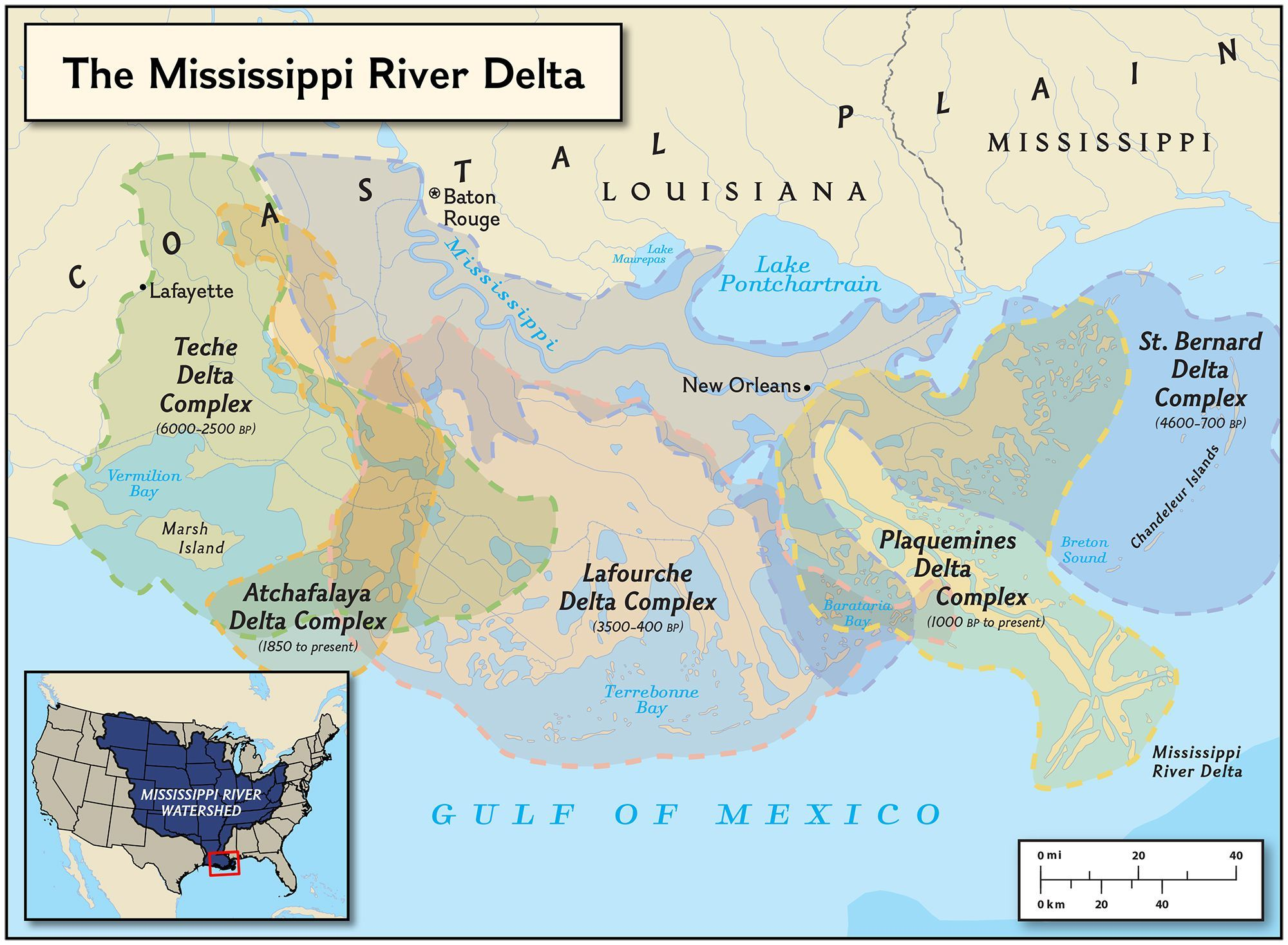 Geographic Map Of Louisiana.Mississippi Delta Formations National Geographic Society
