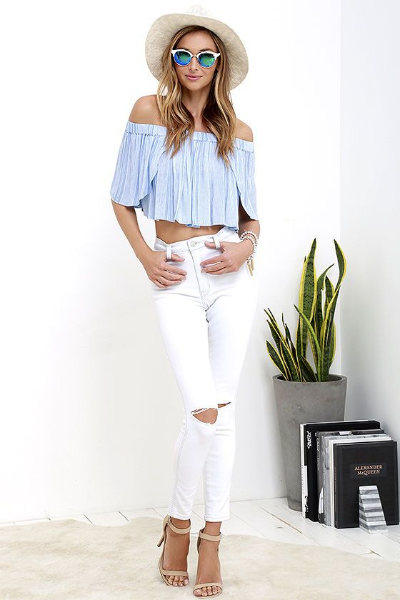 Lyrical Light Blue Striped Off-the-Shoulder Crop Top
