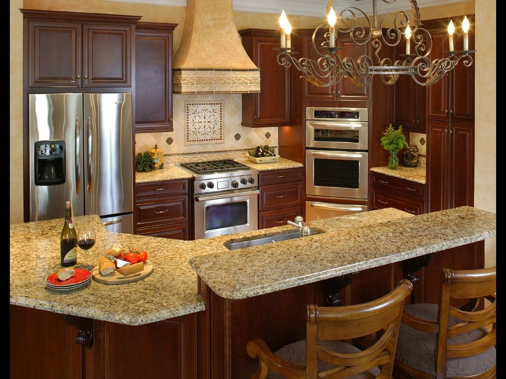 2 Tier Kitchen Island Wonderful Tuscan Themed Kitchen Decorating Design With Dark Brown Wood Ki Tuscany Kitchen Tuscan Decorating Kitchen Tuscan Kitchen Design