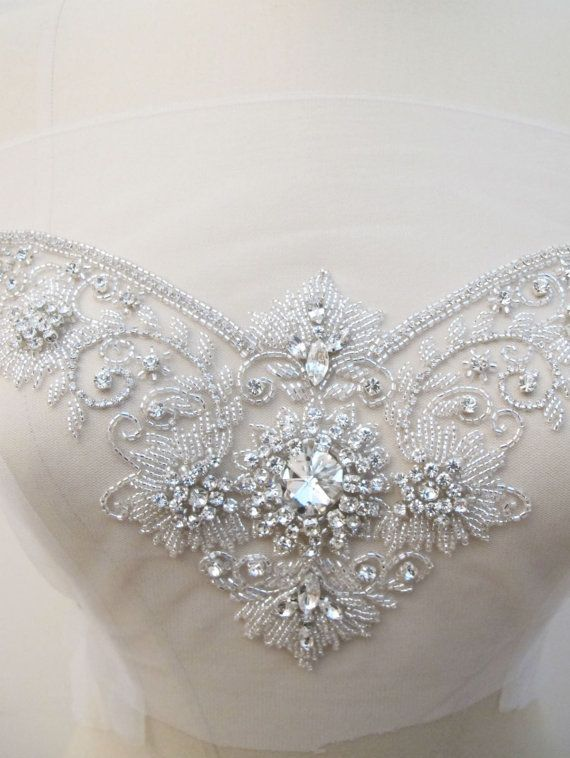 Crystal rhinestone applique for sweetheart neckline bridal for Crystal embroidered wedding dress
