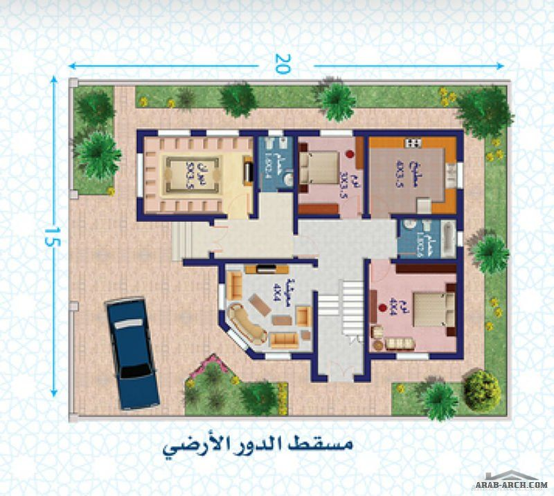 نموذج فلة دور واحــد مساحة الأرض 300 متر مربع مساحة البناء 134 متر مربع Classic House Design House Design Pictures Floor Plan 4 Bedroom
