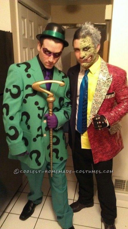 Two Face Mens Fancy Dress Batman Comic Villain Adults Costume Halloween Outfit