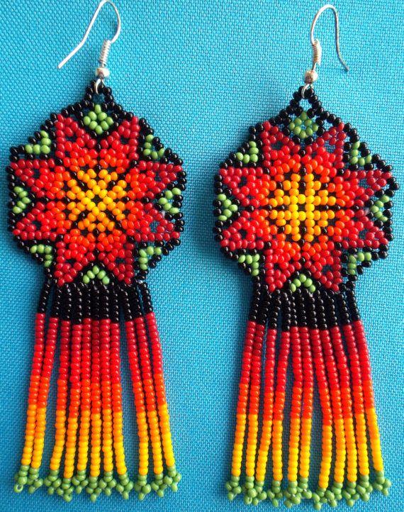0e06bc4c21ca Arte Popular Mexicano · Mexican Huichol Beaded Star earrings by Aramara on  Etsy Manualidades Caseras