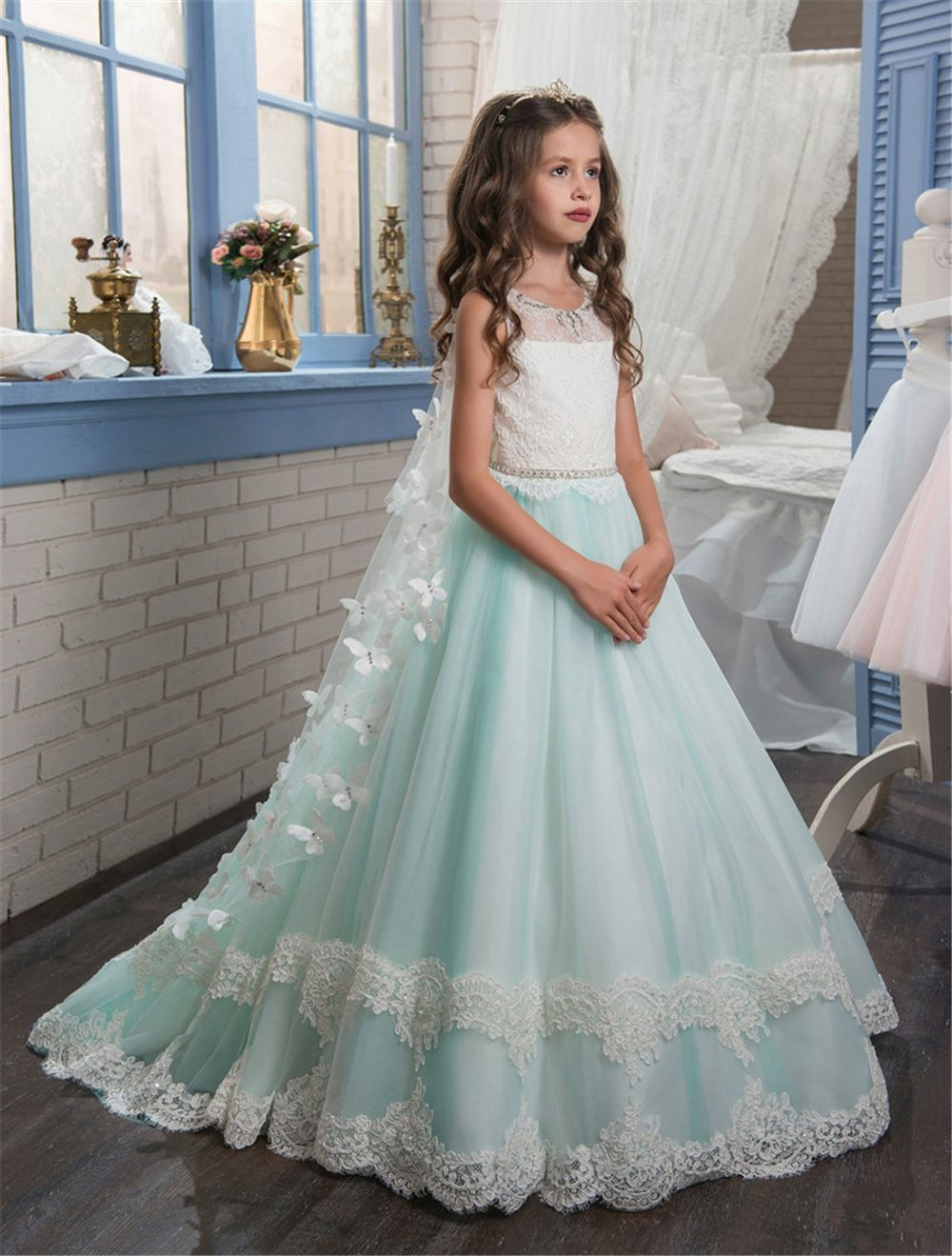 New wedding princess butterfly cape lace girls dress 2017 green ...