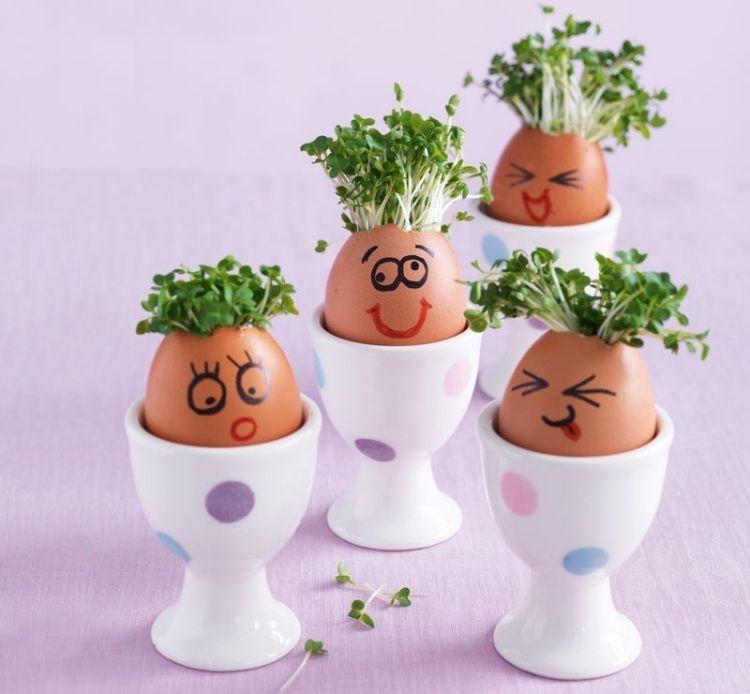 malen sie lustige gesichter auf den eiervasen mit kresse eier bemalen. Black Bedroom Furniture Sets. Home Design Ideas
