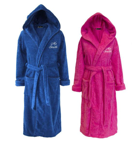 Personalised Set of Mr & Mrs Towelling Dressing Gowns Bathrobes for ...