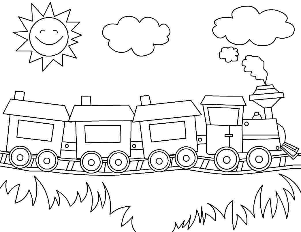 Printable coloring pages transportation train for for Preschool coloring pages