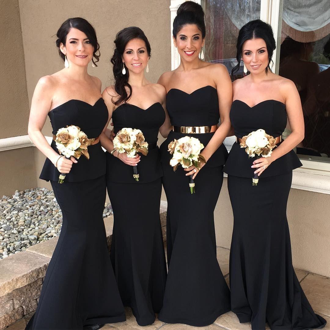 Black Mermaid Bridesmaid Dresses With Gold Sash Mermaid Bridesmaid Dresses Bridesmaid Dresses Strapless Cheap Long Bridesmaid Dresses [ 1080 x 1080 Pixel ]