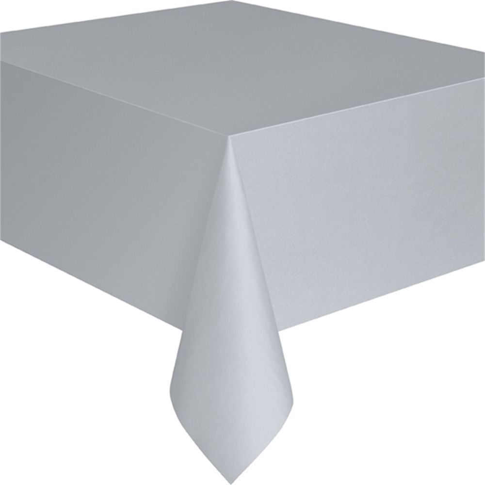 Silver Plastic Tablecloth, 9Ft X 4.5Ft