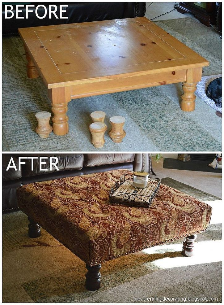 Convert A Coffee Table To An Upholstered Ottoman We Had Unused That I Changed Into Plush Beautiful Functional