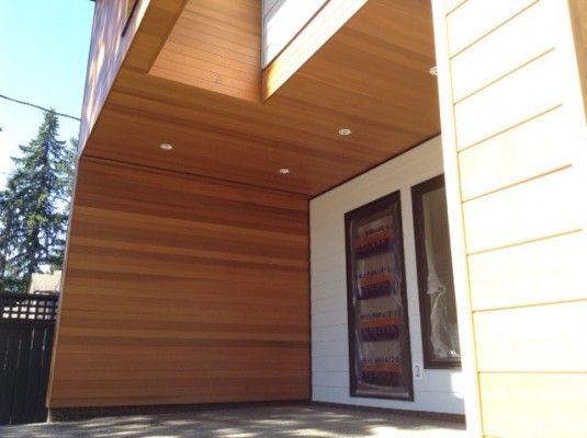 Longhouse Provided All Of The Clear Old Growth Western Red Cedar Siding And Soffits For This Pair Of Modern Homes In N Cedar Siding Western Red Cedar Red Cedar