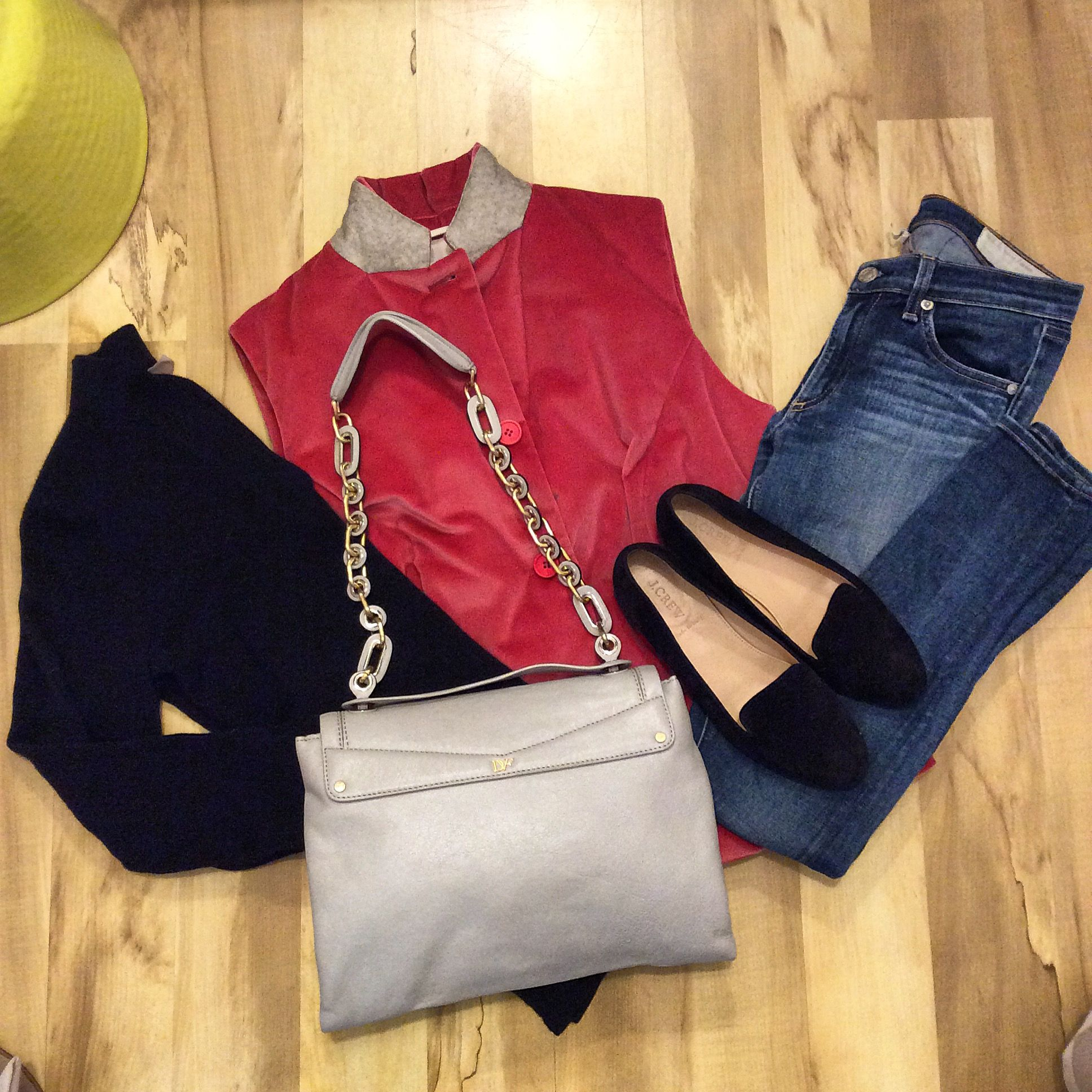 Stylish comfort is the theme of this outfit of the day: Ellie Kai cashmere sweater S $68, Brunello Cucinelli vest 46 $168, Rag & Bone skinny jeans 27 $48, DVF purse $98, and J. Crew velvet flats 7.5 $28.