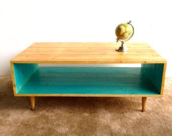 handmade coffee table mid century modern teal by
