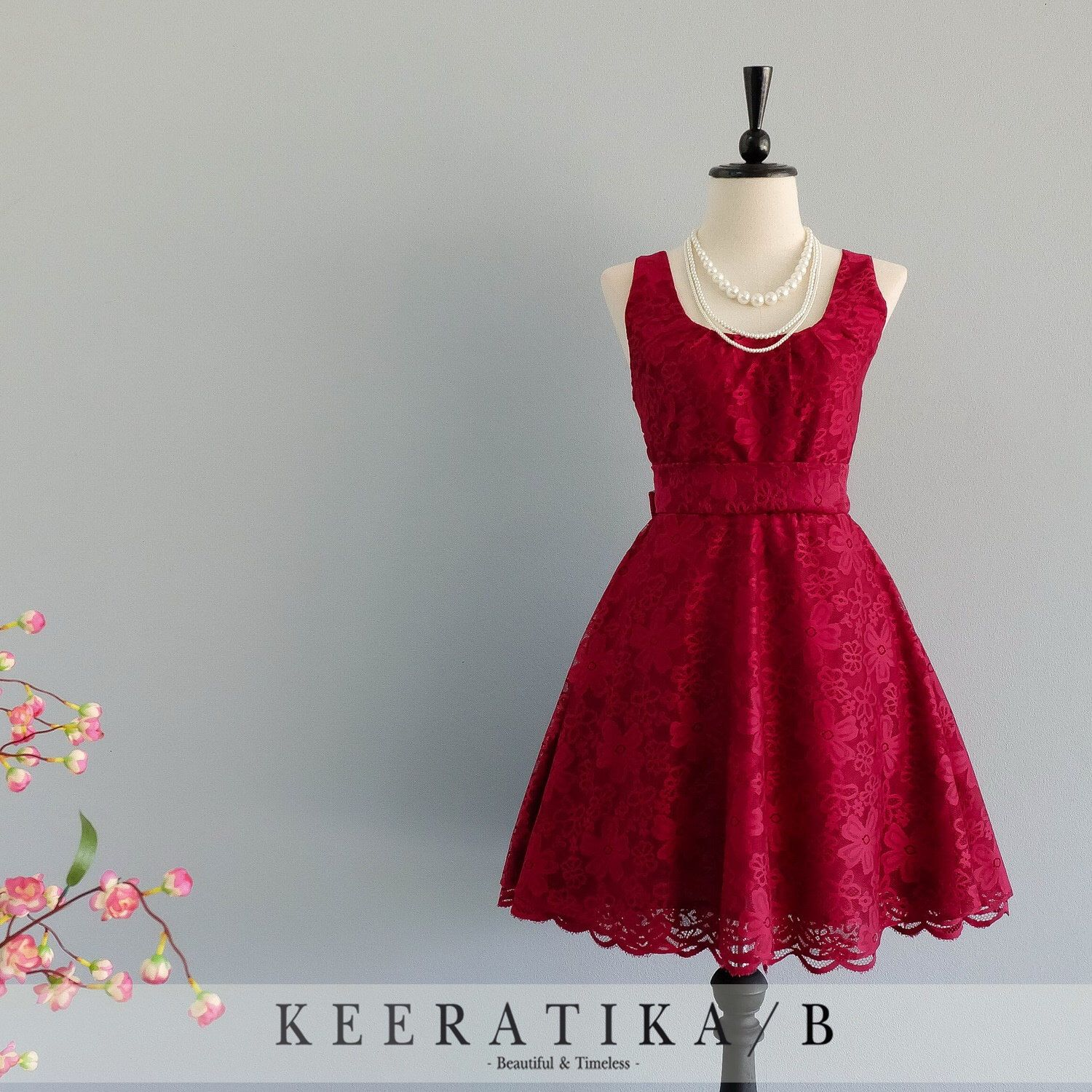 My Lady - Nicely Burgundy Lace Dress Vintage Design Red Lace ...