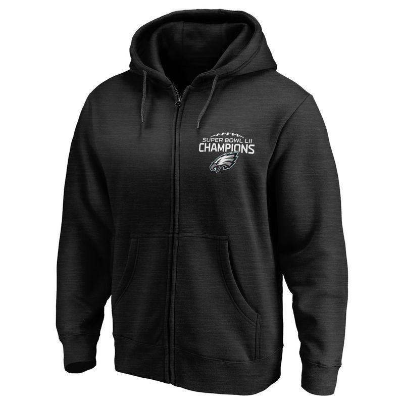 Philadelphia Eagles NFL Pro Line by Fanatics Branded Super Bowl LII  Champions Pocket Full-Zip Hoodie – Black 425be8ed1