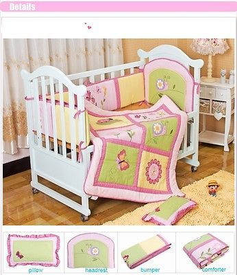 New Cotton 4pcs Baby Girl Crib Cot Bedding Set Quilt Bumper Sheet Dust Ruffle Newborn Baby Bedding Baby Girl Crib Cot Bedding Sets