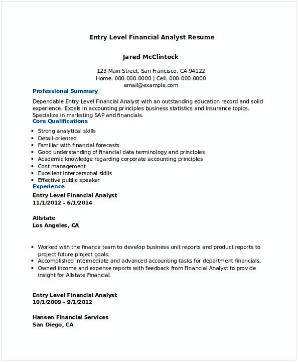 Download Entry Level Financial Analyst Resume 1 , Financial - financial resume examples