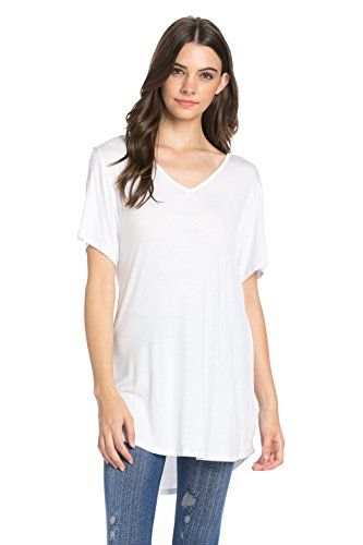 Women's Tunics - Frumos Womens Round Hem Short Sleeve Tunic Top Made In USA >>> Check out this great product. (This is an Amazon affiliate link)