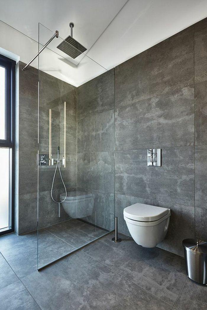 Le carrelage effet béton en 55 photos inspirantes Ensuite - Salle De Bain Moderne Douche Italienne