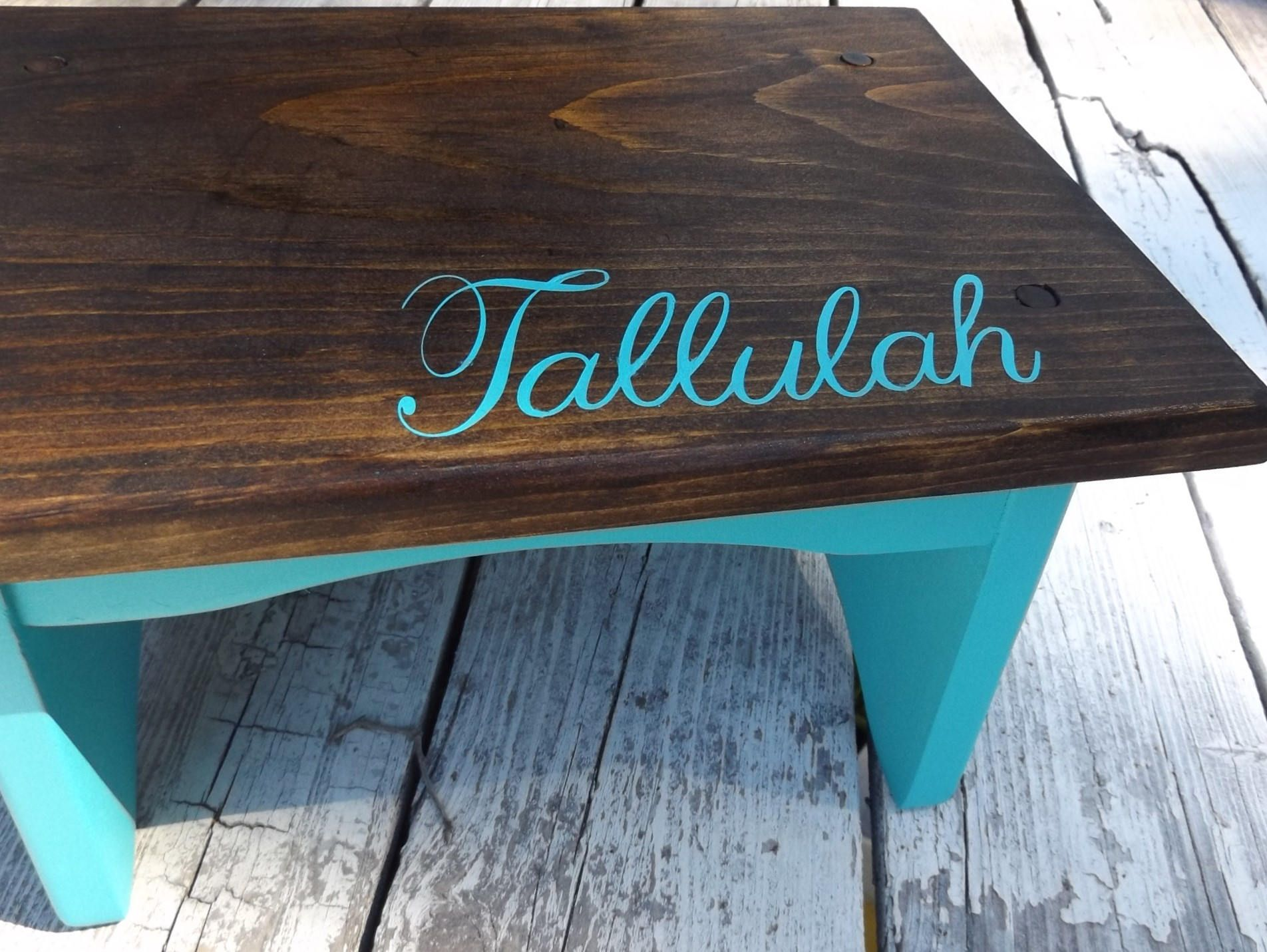 Wooden Step Stool, Personalized childs step stool, Dark Walnut Stain ...