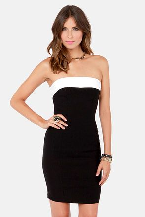 Little Bow Peek Strapless White And Black Dress My Style