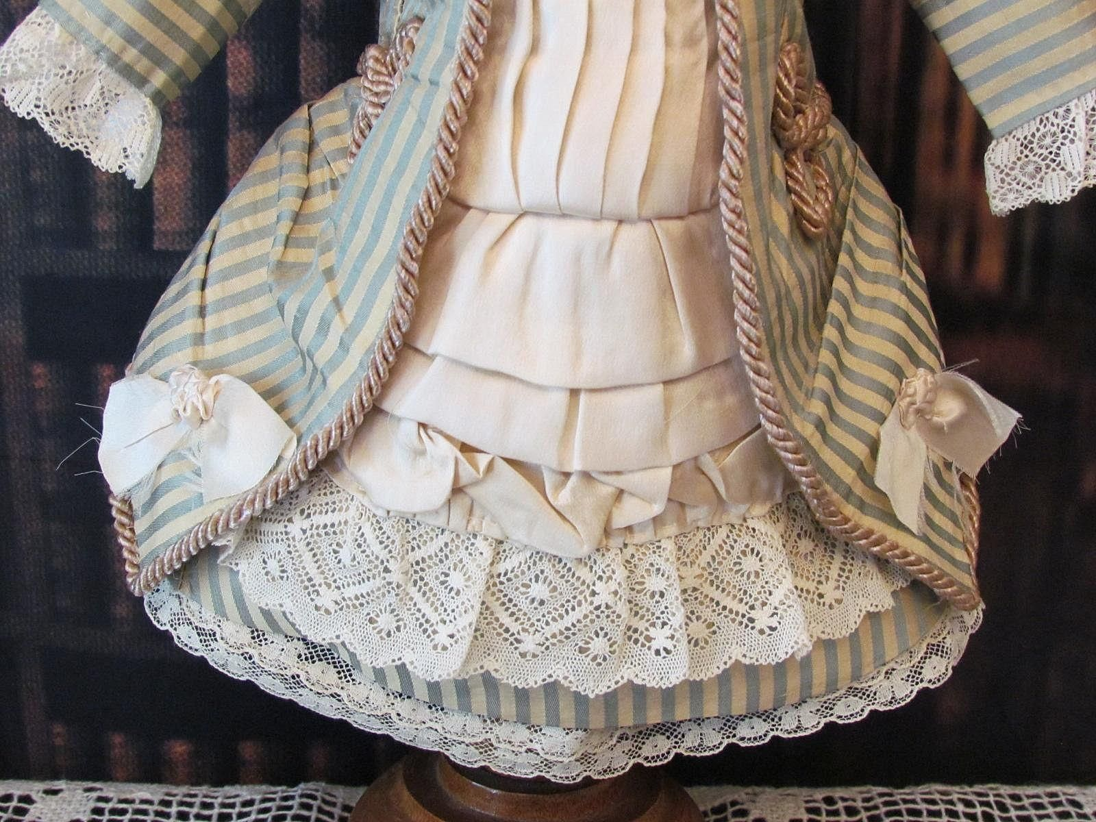 """Silk Taffeta Dress fits 18-19"""" Antique French Bebe Doll from antiquedollplace on Ruby Lane"""