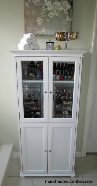 Great Makeup Storage Idea Any Kind Of Tall Cabinet Will Do Makeup Storage Organization Makeup Storage Makeup Organization