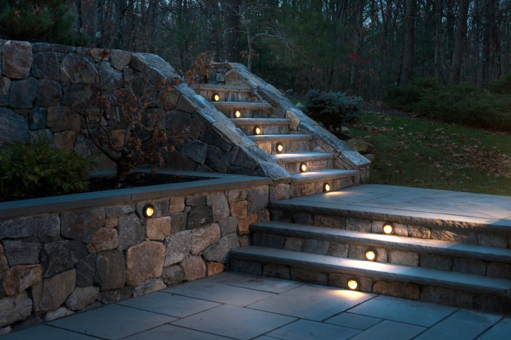 Outdoor Stone Stair For Natural Patio Plan With Decorative