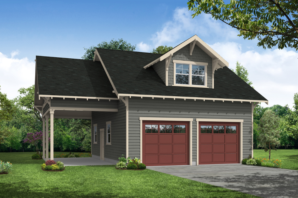 This Craftsman Garage Plan Can House Two Cars Plus One Extra In The Attached Carport Both Garag Garage Plans Detached Garage Apartment Plan Garage Apartments