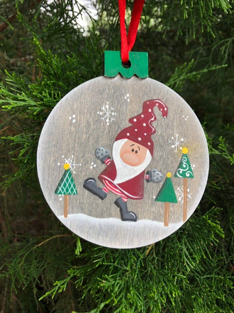 Gnome Ornament Christmas Ornament Wood Slice Ornament Elf Etsy Painted Christmas Ornaments Hand Painted Ornaments Painted Ornaments