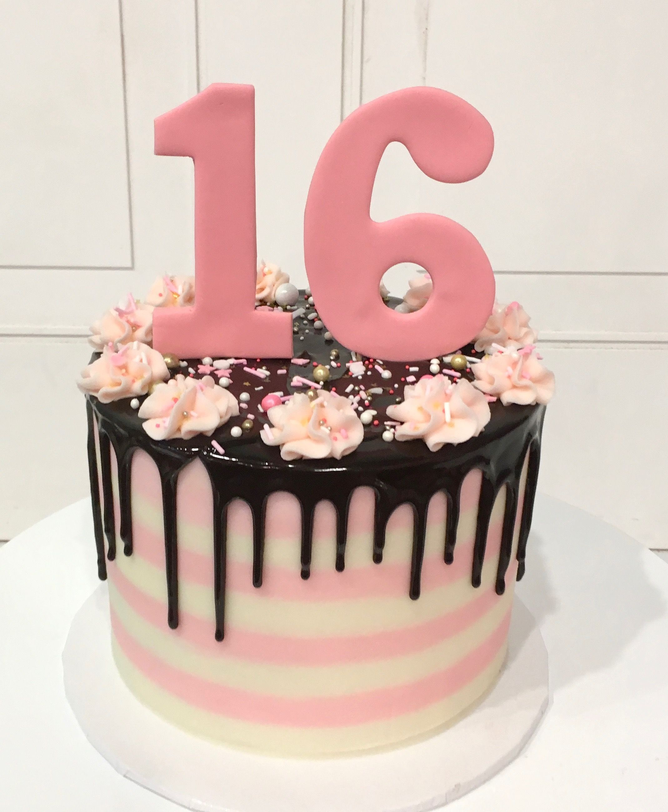 Miraculous Sweet Sixteen Pink And White Cake With Chocolate Ganache Drip By 3 Funny Birthday Cards Online Inifodamsfinfo