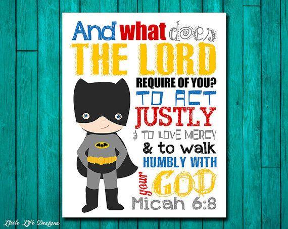 Seek Justice Love Mercy Walk Humbly Micah 68 Superhero Wall ArtSuperhero BathroomSuperhero