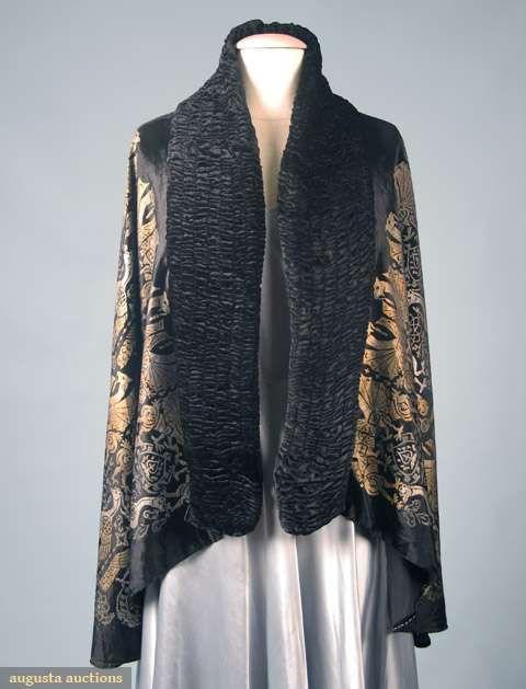 "Black silk velvet, metallic gold & silver stencilled griffin & peacock designs, fabric signed ""Maria Monachi Gallenga"", ruched black velvet band around front, CBL 31"","