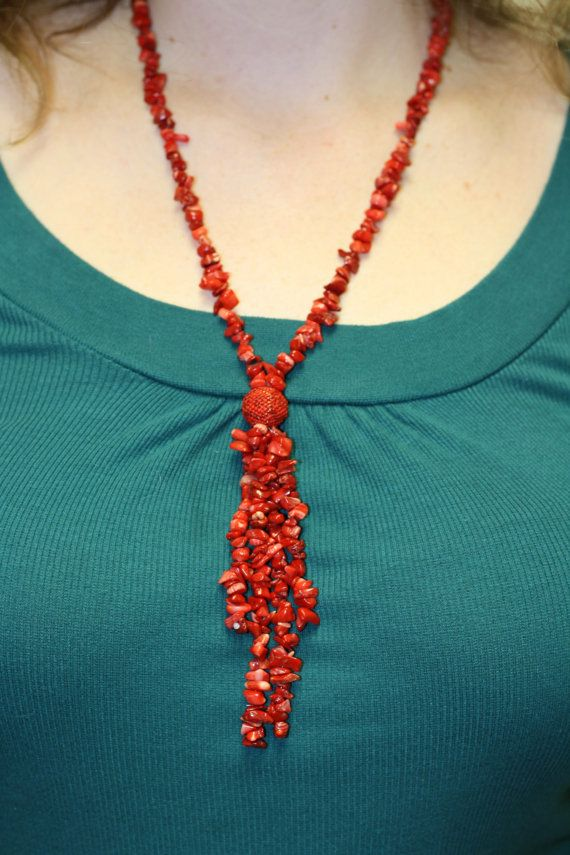Red Coral Necklace with Tassel End by rachelkappler