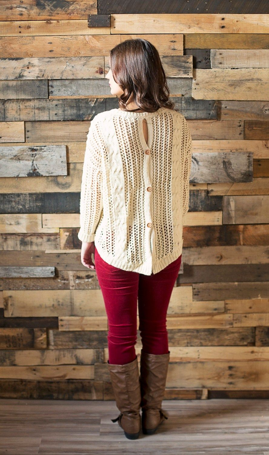 Cute As A Button Sweater | Cream cable knit sweater with large ...