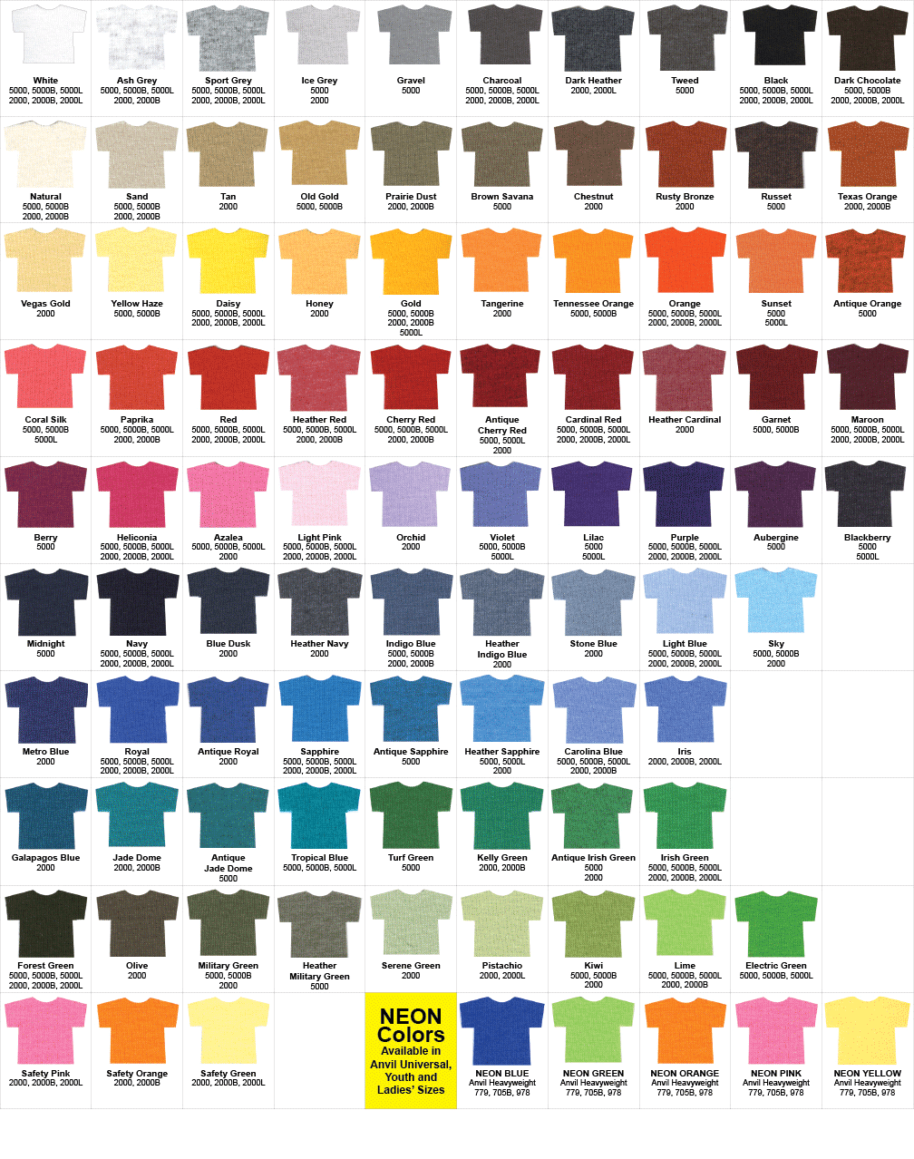 T shirt colors 2014 google search church wear pinterest t shirt details color chart glow in the dark t shirts by imagintee nvjuhfo Images