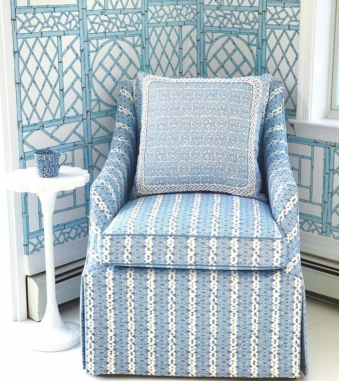 Quadrille Lyford Trellis Wallpaper Chair And Pillow In