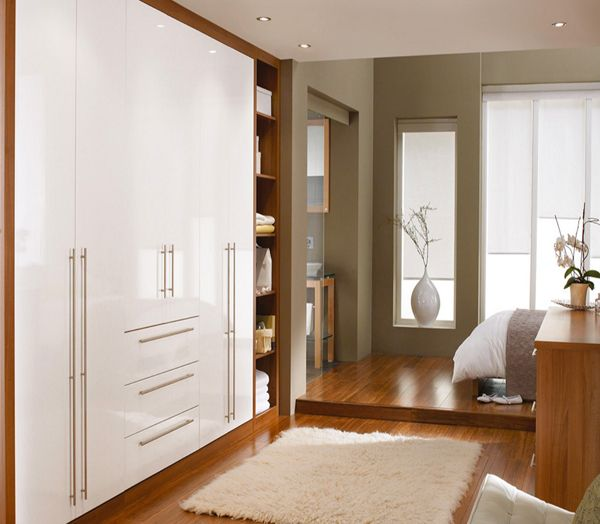 Built In White Cabinets In Wood Enclosure