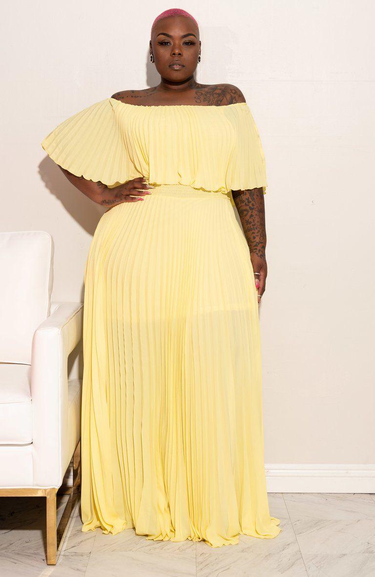 Plus Size Maxed Out Off Shoulder Maxi Dress Banana Yellow Boutique115 Yellow Maxi Dress Plus Size Dresses Uk Curvy Size Fashion [ 1181 x 768 Pixel ]