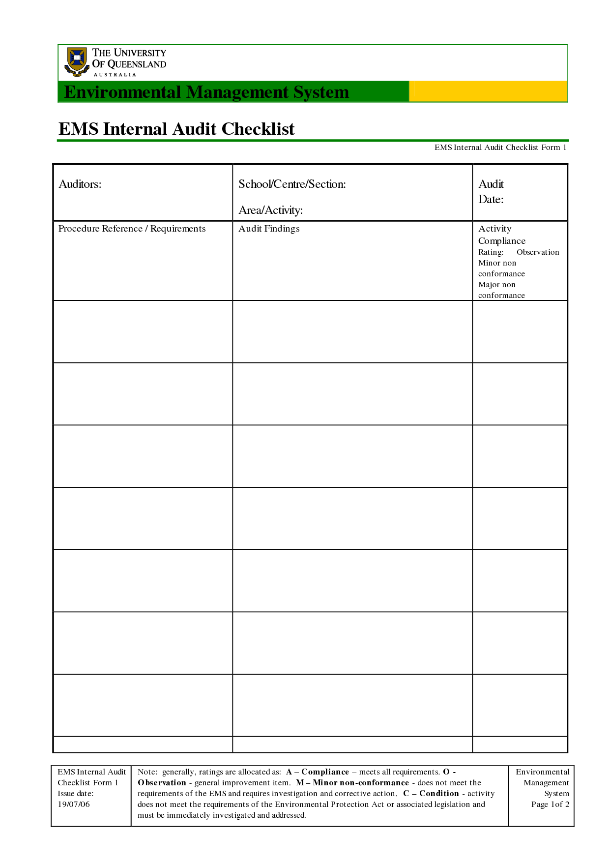 Sample Internal Audit Checklist