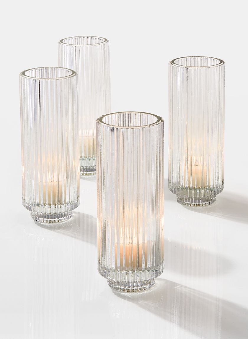 6 1 4in Pleated Glass Votive Holder Set Of 4 Glass Votive Glass Votive Holders Votive Holder