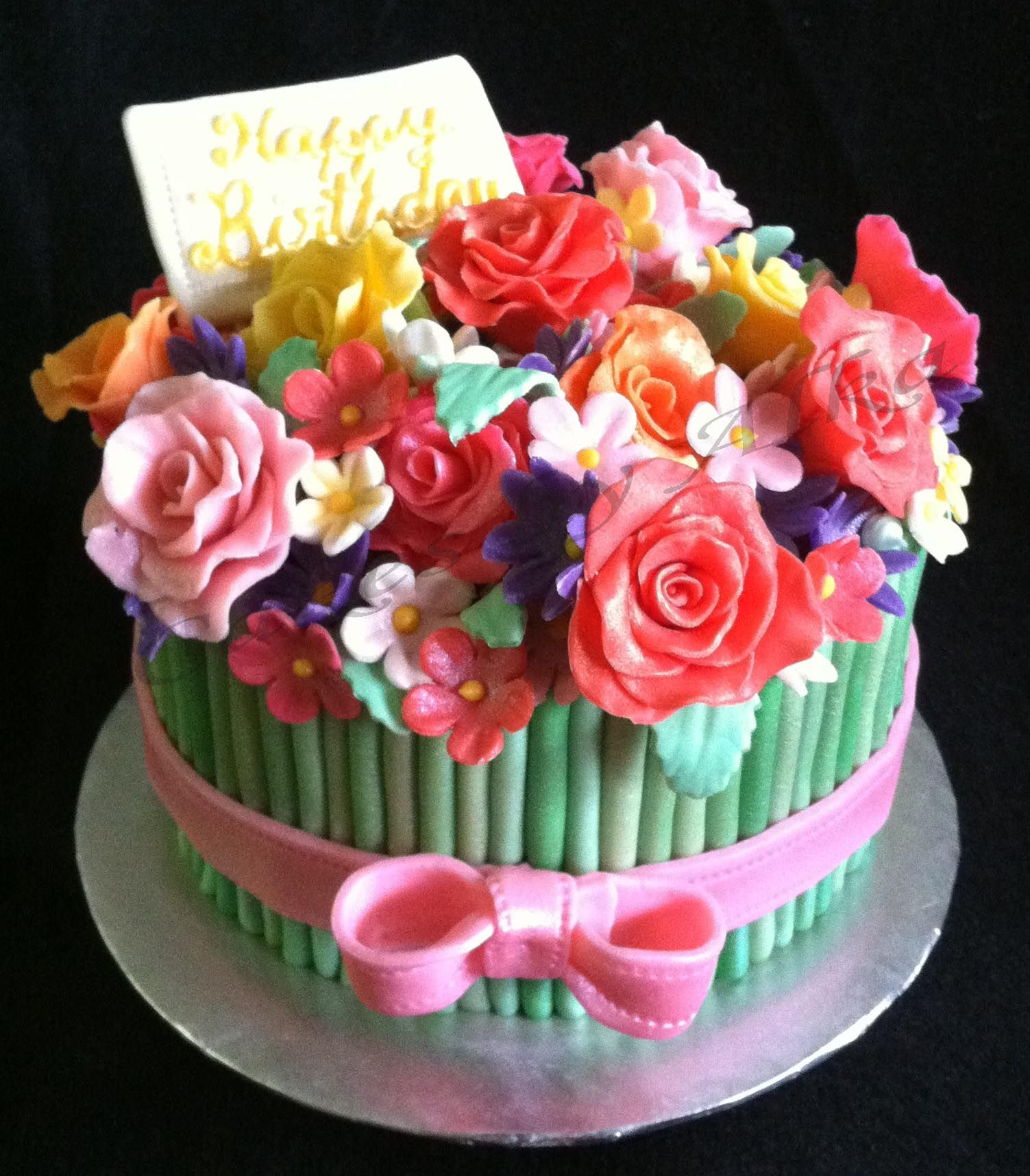 Birthday bouquet of cake and edible flowers. Cake, Cake