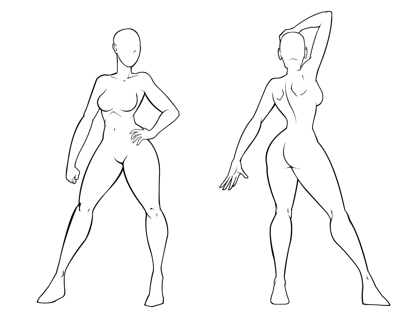 Female Template Inked By Dualmask Png 1600 1269 Body Template Female Drawing Drawing Poses
