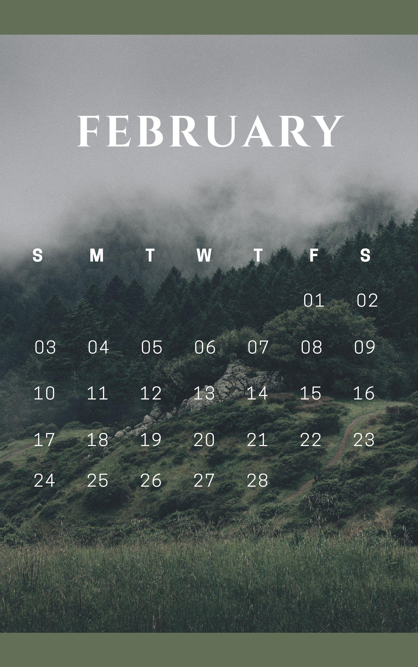 Book It Calendar February 2019 february 2019 nature iphone calendar | CALENDAR. in 2019